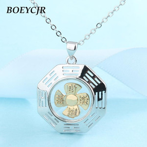 Boeycjr Bouddhist Novel Anchor Rotating Windmill Lucky Energy Pendentif Collier pour hommes