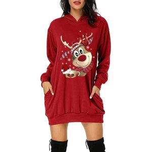 Women Christmas Hoodies Dress Sweatshirt Kawaii Reindeer Print Festival Clothing Tracksuit Merry Christmas Sweatshirts Plus Size