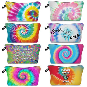 Zipper Tie-dye Makeup Bag Cosmetic Pouch Letters Print Pencil Case Unisex Handbag Travel Storage Tote Wallet Make Up Brush Wash Bag E120406