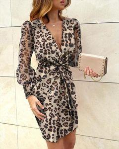Women Elegant Leopard Print Mini Dress 2020 Summer Fashion Long Sleeve Knot Deep V Neck Slim Sexy Dress Office Ladies Clothes