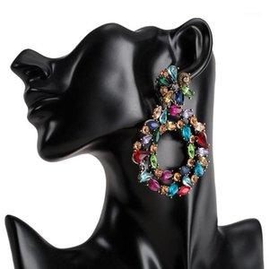 Cristal Drop Brincos para Mulheres 2019 Big Colorful Declaração Brincos Grandes Rhinestone Brincos Bold Moda Jewellery1