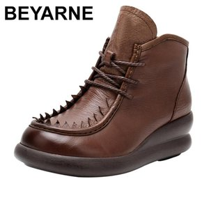 BEYARNE Handmade Boots Women Comfortable Autumn Genuine Leather Ankle Boots for Women Soft Wedges Platform Shoes Ladies E847