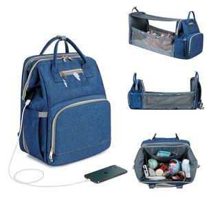 Mochila para mujer Bolsas de pañales USB protector solar plegable Cuna Cuna Cuna Aislamiento de gran capacidad Bolso de cochecito de enfermería Q1221