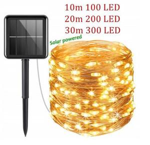 10/50/100/200 / 300LÉS COPPER Fil String Lumières USB / Solar Power Fairy Lumière 8 modes IP65 imperméable extérieur extérieur décoration de Noël ligh