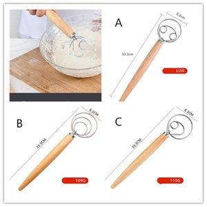 Batedor de Ovo de Aço Inoxidável 13 polegadas Diy Pão Dough Ferramentas de cozimento Acessórios Dinamarquesa Massa Whisk Stick Gadgets Gadgets Oak Wood Handle
