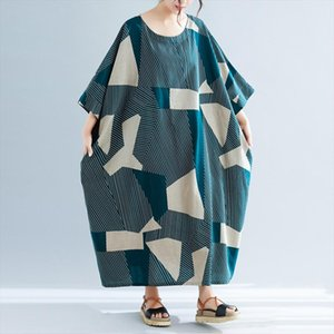 2020 Summer Striped Plus Size Long Women Dresses New Half Sleeve Casual Loose O Neck Cotton Linen Vacation Dress Green
