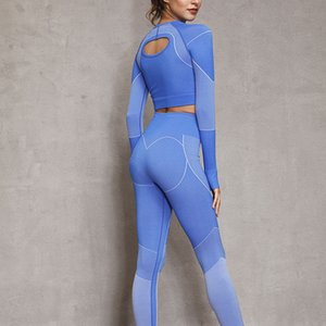 Women's Seamless Long-sleeved Tops, Tight Pants, Sports Fitness Suits, Yoga Clothing, Gym Running Clothes