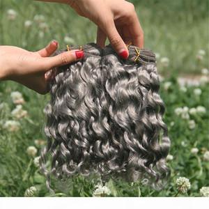 Pure Grey Deep Wave Courly Hair Extensions 3bundles Splittergrau Human Jungfrau Peruanisches Haar FEFTS Graue Tiefwellenbündel Angebote zu verkaufen