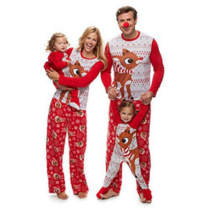 New Couples Home Skin-friendly and Comfortable Christmas Family Parent-child Printed Pajamas