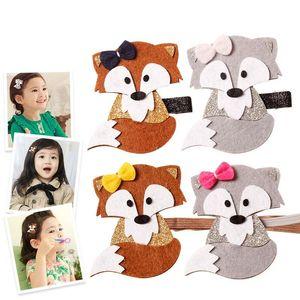 Glitter Felt Hairpin Animation Cartoon Styling Hair Clip Kid Headband Cotton Hair Bows HairBands Ties Accessorie