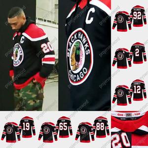 시카고 BlackHawks Patrick Kane 2020-21 Reverse Retro Hockey Jersey Duncan Keith Jonathan Toews Corey Crawford Andrew Shaw Alex Debrincat