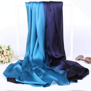 90*180cm Women Gradient Silk Scarf Wraps Autumn Winter Sjaal Luxury Large Satin Scarves Beach Foulard Muslim Hijab Head Scarf