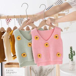 Autumn 2020 New Children Flower Knit Vest Sweet Kids Flowers Knitting Sweater Girl Heart Collar Small Daisy Knitted Waistcoat Tops C6478