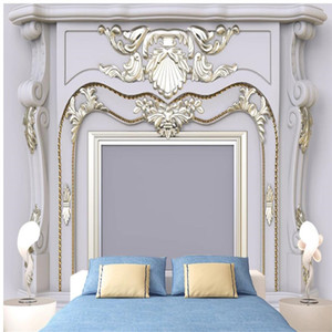 3d stereoscopic wallpaper three-dimensional European style wall panel golden wallpapers 3d TV background wall