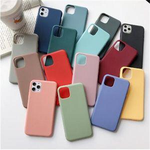 Ultra-fino Matte TPU Case Telefone para iPhone 12 Mini 11 Pro Max X XS XR 7 8 Plus Candy Color Fosco Silicone Silicone Prova à prova de choque DHL