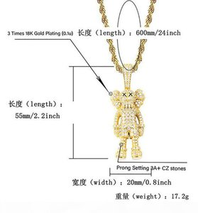 14K Gold Plated Ins Cartoon Doll Pendant Necklace Micro Pave Cubic Zirconia Simulated Diamonds with 24inch Gifts Box Chain