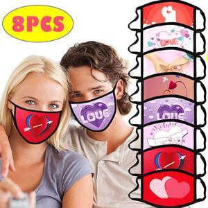 Tasarımcı Sevgililer Kadınlar Yüz Maskesi Anti-Toz Karikatür Maskeleri Yıkanabilir Kullanımlık Ağız Kapak Sevgililer Günü Parti Favor Kizter