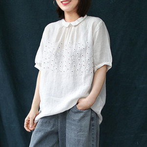 Johnature 2020 Summer New Loose Leisure Retro Embroidery Turn down Collar Cotton Linen Shirt Simple Fashion All match Women Tops