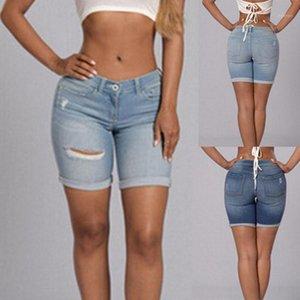 Damen Shorts 2021 Hohe Qualität Frauen Dehnen Defekte Kupferfüße Jeans Mode Mid Taille Slim Sexy Fast S-2XL1