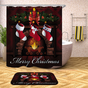 Christmas Stocking Fireplace Bathroom Polyester Shower Curtains Set With Rings Merry Xmas Funny Cat Red High-heeled Shoes Screen