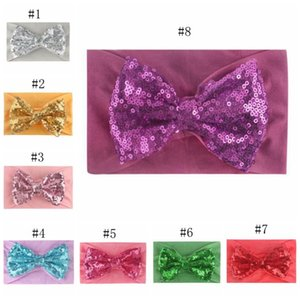 2020 Baby Sequins Headwrap Glitter Hair Headdress Bow Newborn Headband Nylon Infant Girls Hairband Elastic Hair Accessories 8 Designs