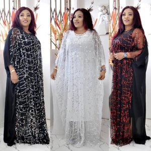 2 Pieces Set African Dresses for Women Plus Size Dashiki Sequins Gown African Clothes Abaya Dubai Muslim Dress Robe Africa Dress1
