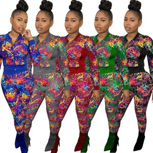 Concepteur Femmes Tracksuit Fashion Sexy Two Outfits Sports Épissage à manches longues Pantalon à manches longues Sportswear Cravate Cravate Impression Ensemble de jogging Cuisson W9GA