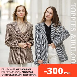 toppies 2020 vintage Houndstooth woolen Jacket double breasted long coat women outwear winter clothes J1202
