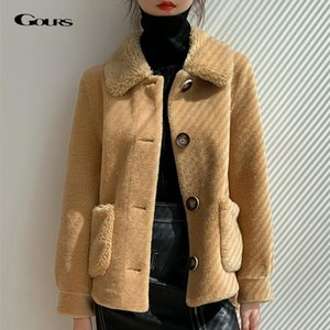 Gours зима подлинные куртки с шерстью для женщин мода натуральные шерсти реальный мех пальто густые теплые 2020 новое прибытие ld2005