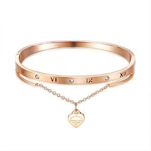 Rose Gold Roman Numeral Bracelet woman accessories stainless steel jewelry luxury heart crystal bracelet