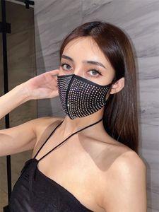 Rhinestone Cycling Mask Dustproof Black Mask Fashion Flashing Diamond Breathable Rhinestone Cotton Outdoor Mask Free shipping