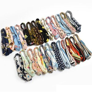 2020 Colors colorful headband Elastic head scarf Twisted Knotted Ethnic head wrap Floral Wide Stretch Girls Hair Accessories