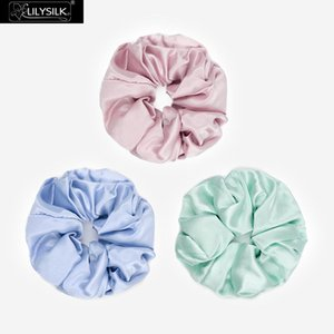 LilySilk Scrunchies 3 Pack Charmeuse Hair 100 Pure Silk Random Color Head Rope Rubber Band Accessories Luxurious Free Shipping Q1201