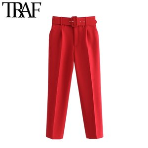 TRAF Women Chic Fashion High Cintura con pantalones de cinturón Vintage Zipper Fly Bolsets Oficina Desgaste Femenino Tobillo Pantalones Mujer 201111
