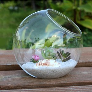 15cm Clear Redonda Vaso De Vidro Vaso Potenciômetro Potenciômetro DIY DIY Decoração de Casamento Decoração Vaso