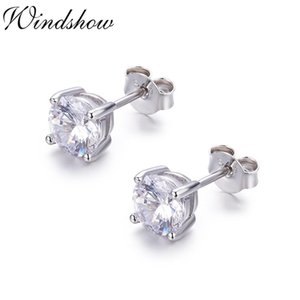 4mm5mm6mm Cute 925 Sterling Silver Four Claw Round CZ Stud Earrings For Women Mens Jewelry Kids Baby Girls Aros Aretes Orecchini