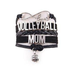 Little Minglou Infinity Love Sport Volleyball Mom Armband Volleyball Charme Leder Wrap Armband Armreifen Für Frauen Schmuck