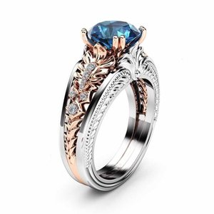 14k Bizuteria Gold 1 Karate Sapphire Women For Topaz Diamond Etoile Femme Ring Wedding Bague Anillo Bijoux Rose Jewelry Jfhki