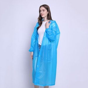 Fashion PEVA Women Man Raincoat Adult Clear Transparent Camping Hoodie Rainwear Suit Thickened Waterproof Rain Poncho Coat