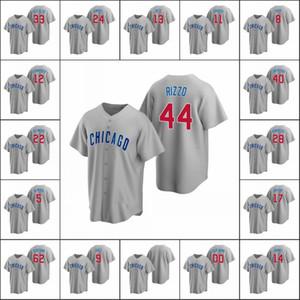 ChicagoCubs #9 Javier Baez 44 Anthony Rizzo 17 Kris Bryant 13 David Bote Men Women Youth Custom GrayReplicaRoad Jersey