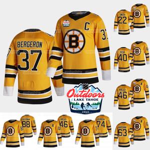 Boston Bruins 2021 En plein air Dimanche Retro Jersey David Pastrnak Patrice Bergeron Brad Marchand David Krejci Charlie Coyle McAvoy Smith