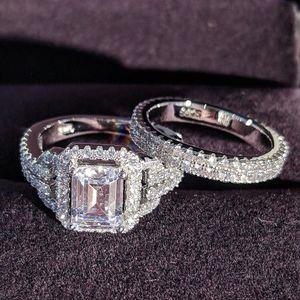 solid 925 Sterling Silver zircon Wedding Ring Set for Bridal Women Finger luxury wholesale lots bulk Jewelry R4835