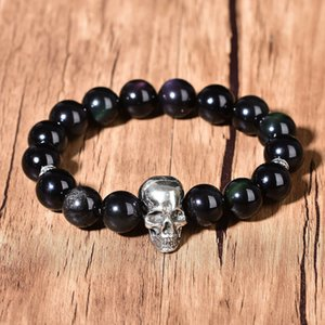 12mm Natural Obsidian Bracelet Chakra Skull Fashion Crystal Bead Silver Decor