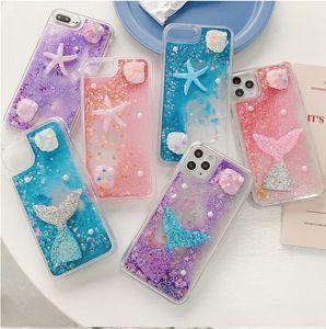 Glitter Summer Seastar Seashell Blue Pink Lavender Liquid Quicksand Mermaid Cell Phone Case for iphone 12 11 pro 6 6s 7 8 plus xs max xr xs