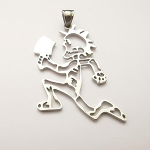 """(silver ) large 2inch tall hollow out Hatchetman men """"Joker Card"""" Stainless Steel ICP Charms pendant w 30'' ball chain necklace"""