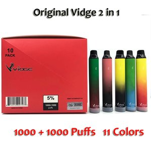 Original Vidge 2 en 1 Visable Vape 2000 Puffins Dispositif 950mAh Cigarette électronique 3 + 3ml Pod 11 couleurs Expédition rapide