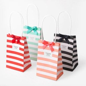 Small paper bag with handles bow Ribbon stripe handbag Cookies candy Festival gift packaging bags Jewelry birthday Wedding DHD2922