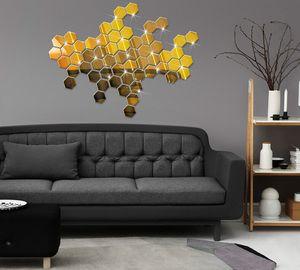 2020 NOUVEAU 12 pcs / Set autocollant mural 3D miroir hexagonal vinyle amovible autocollant de mur de mur décalcomanie décoration art bricolage 8cm