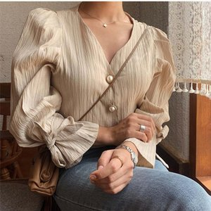 Korean 2020 Retro Elegance Casual Sweet Solid Pearls Chic Fresh High Quality Loose Vintage All Match Women Shirts