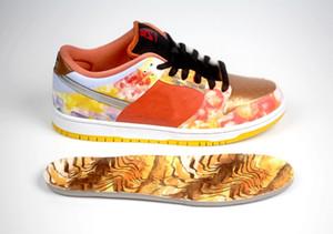 2021 auténtico SB Dunk CNY Street Hawker Low Tie-Dye Chinese Año Nuevo Metallic Cobre Luz Silver PUEBLO Brown Zapatos al aire libre Hombres deportes